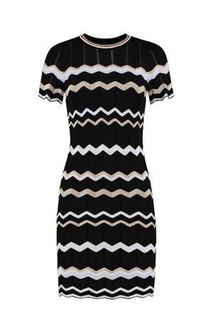 gestreepte semi-transparante jurk Grace  zwart