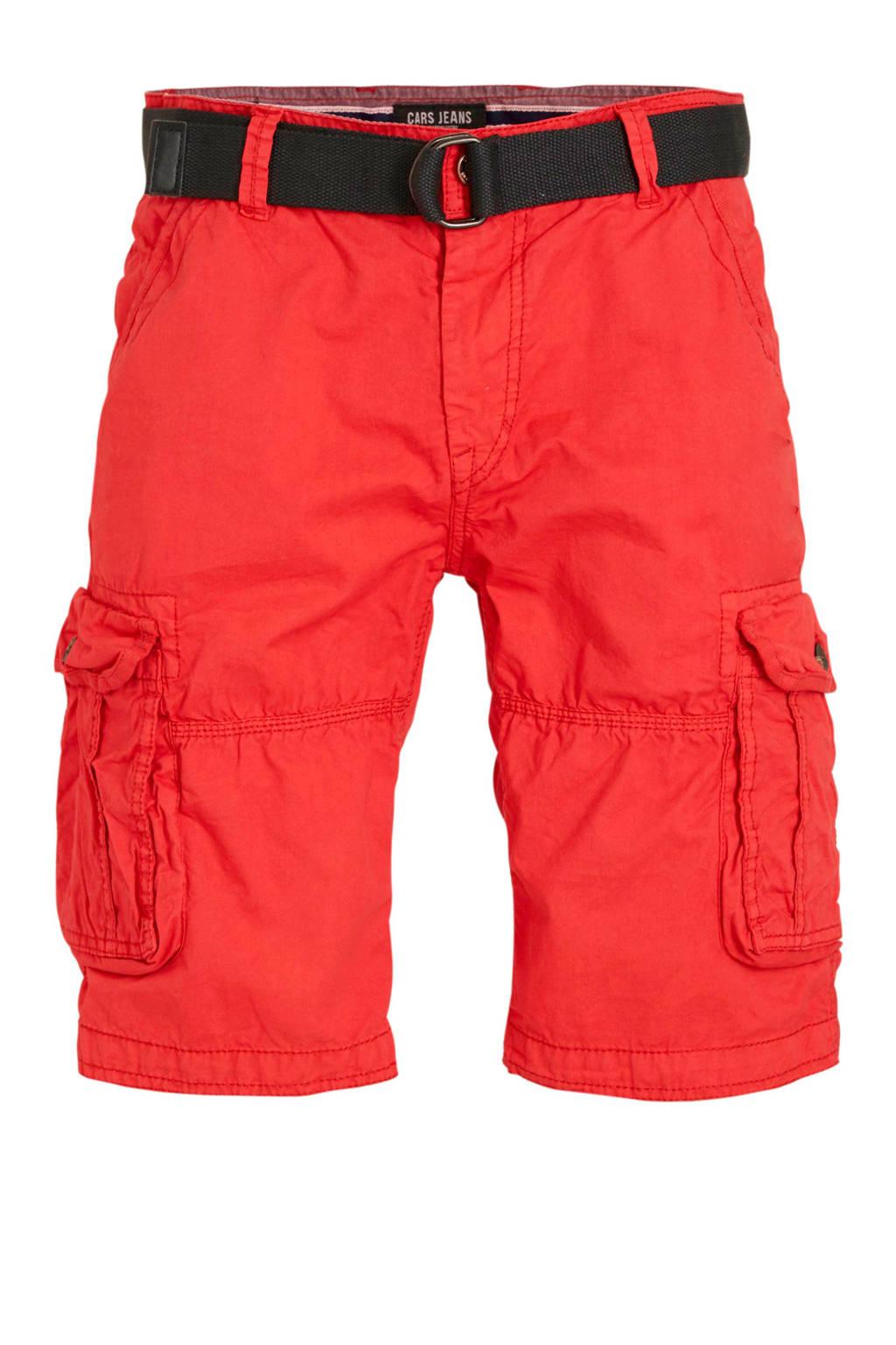 Cars regular fit cargo bermuda rood met riem, Rood
