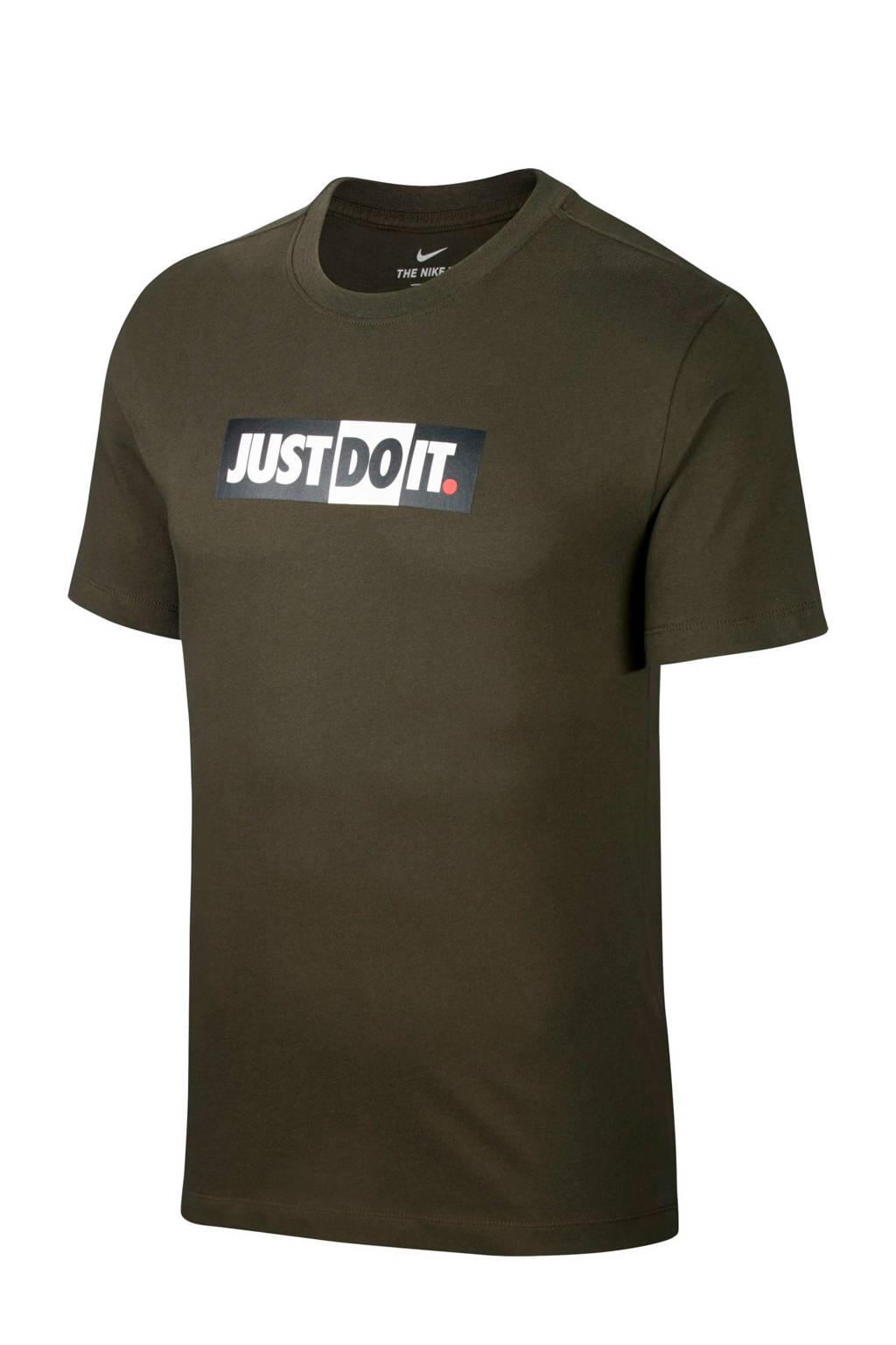 Nike   T-shirt grijs kaki, Kaki