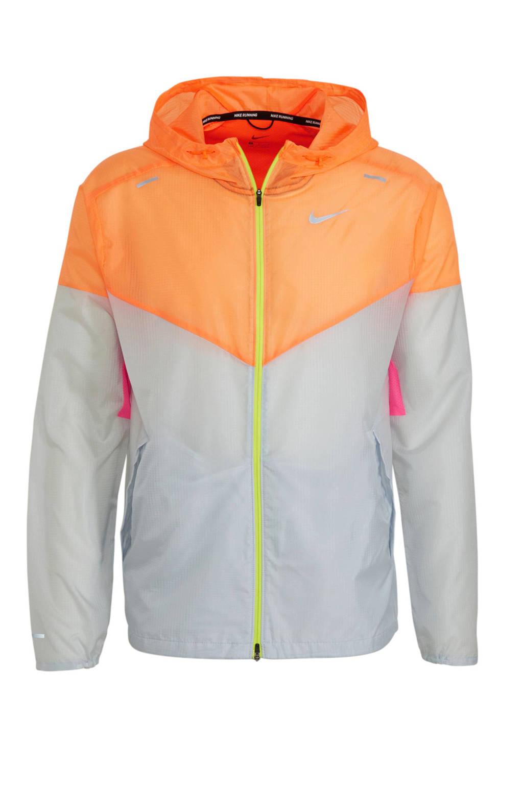 Nike hardloopjack lichtgrijs/oranje, Lichtgrijs/oranje/roze