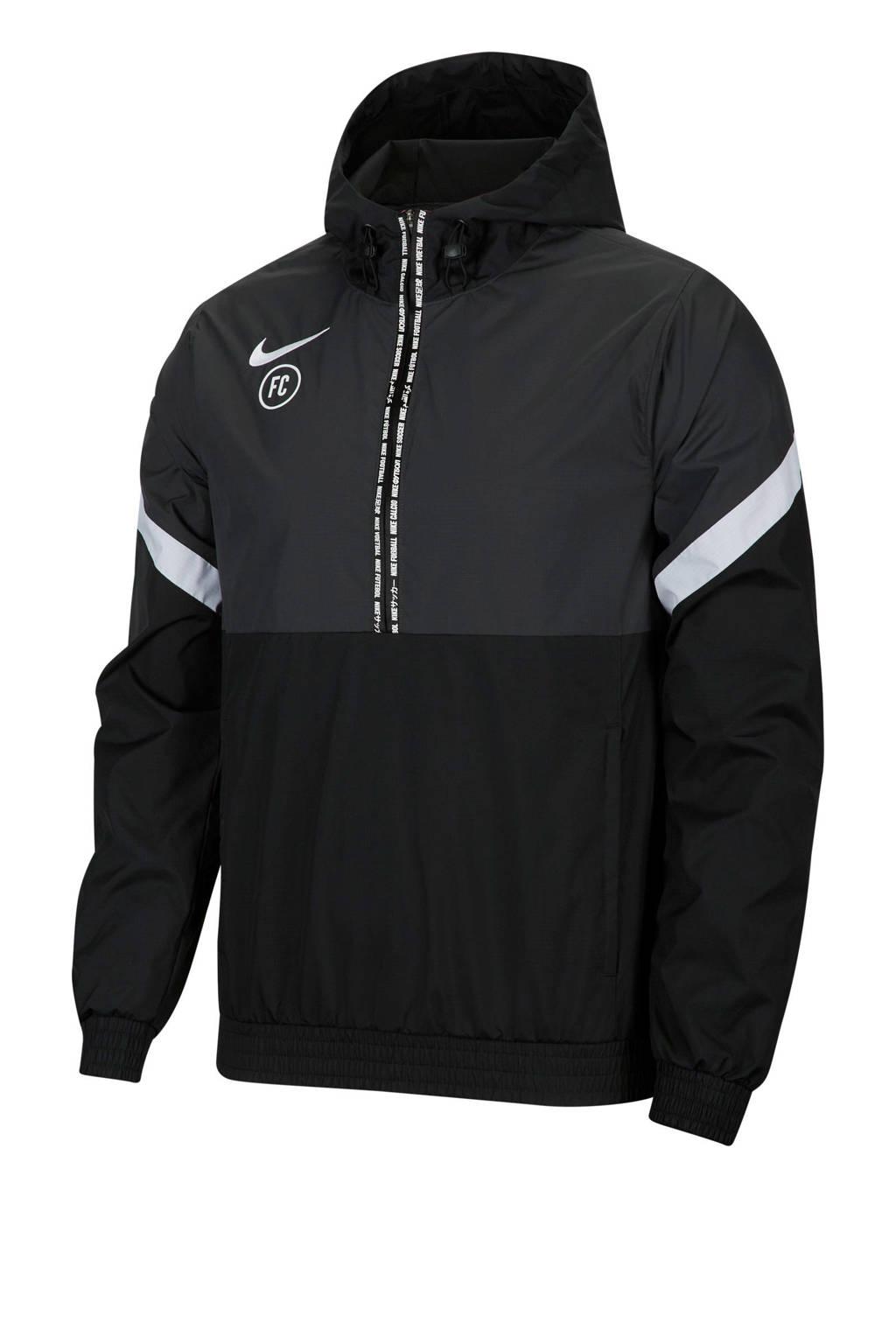 Nike   voetbalanorak zwart, Zwart/antraciet