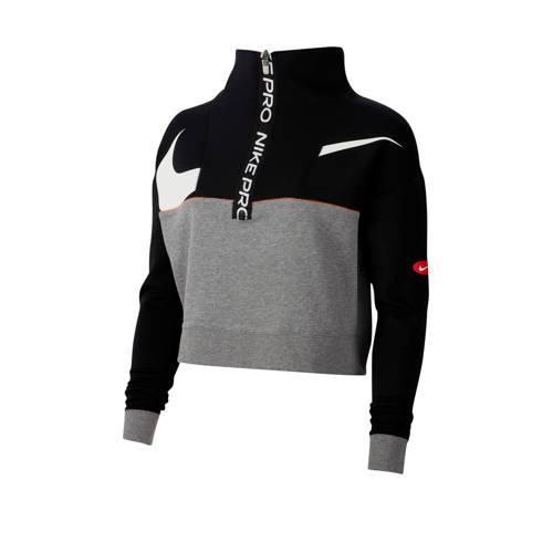 Nike cropped sportvest zwart/grijs