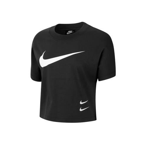 Nike cropped T-shirt zwart