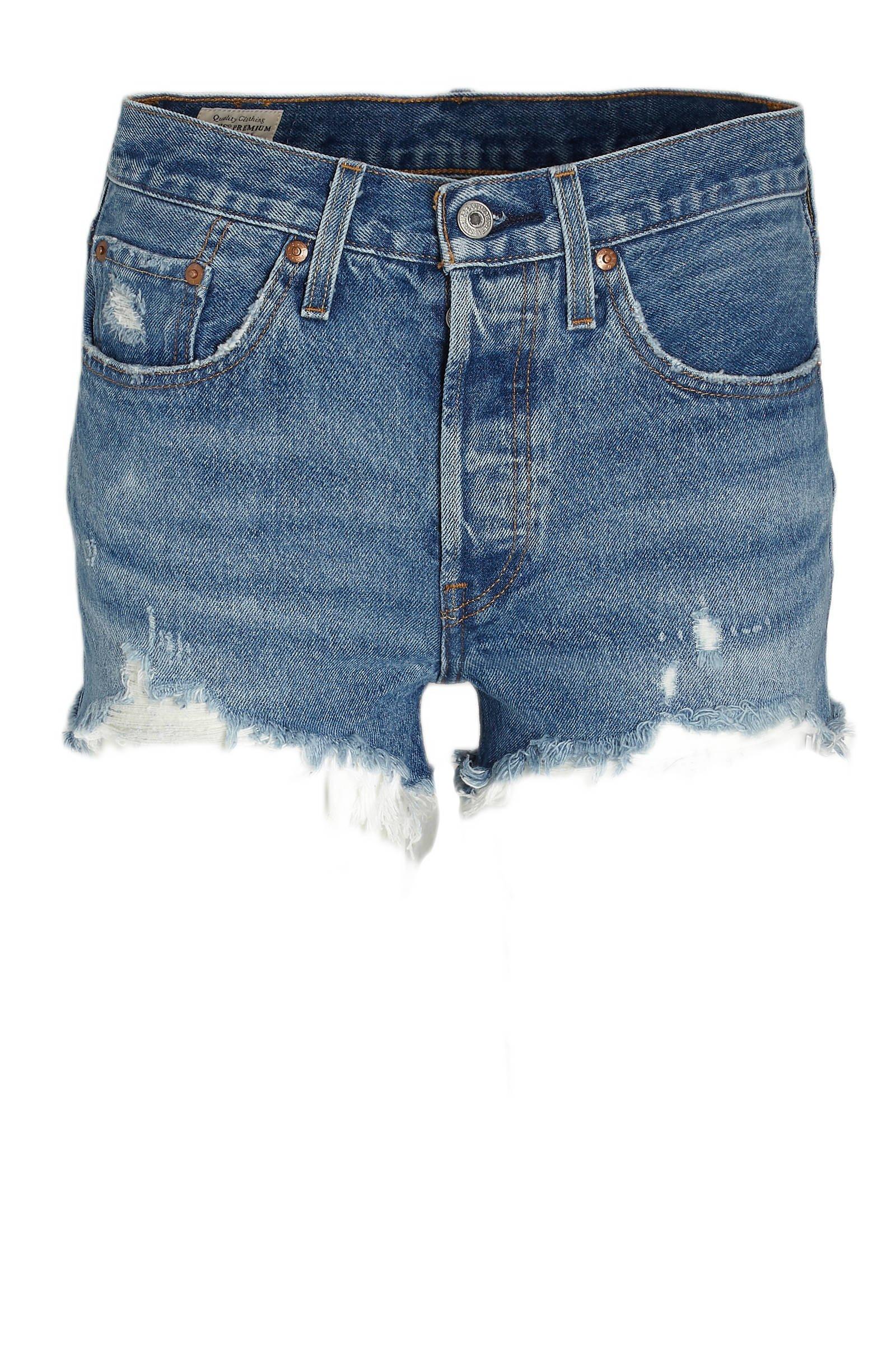 501 high waist jeans short blauw