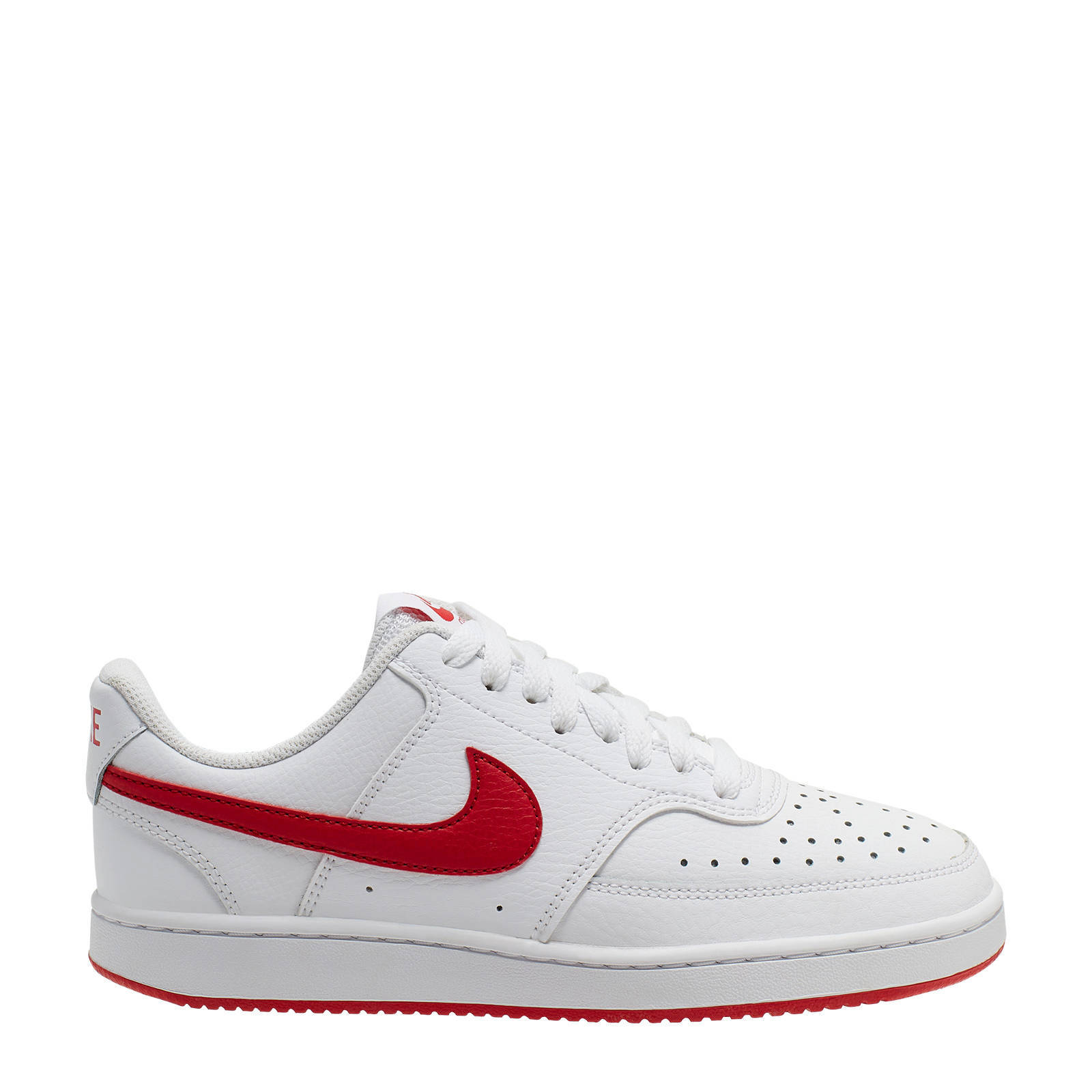 Nike Court Vision Low leren sneakers wit/rood | wehkamp
