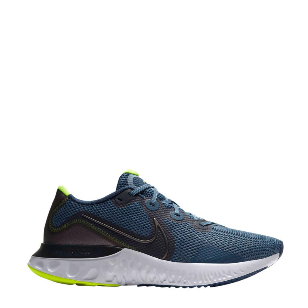 Nike Renew Run  hardloopschoenen blauw/metallic grijs/geel, Blauw/metallic grijs/geel