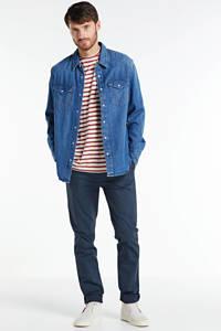 Nudie Jeans gestreept T-shirt van biologisch katoen ecru, Ecru