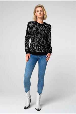 zwangerschapssweater Lines met all over print zwart/wit