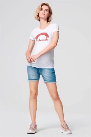 zwangerschapsshirt met printopdruk wit/rood