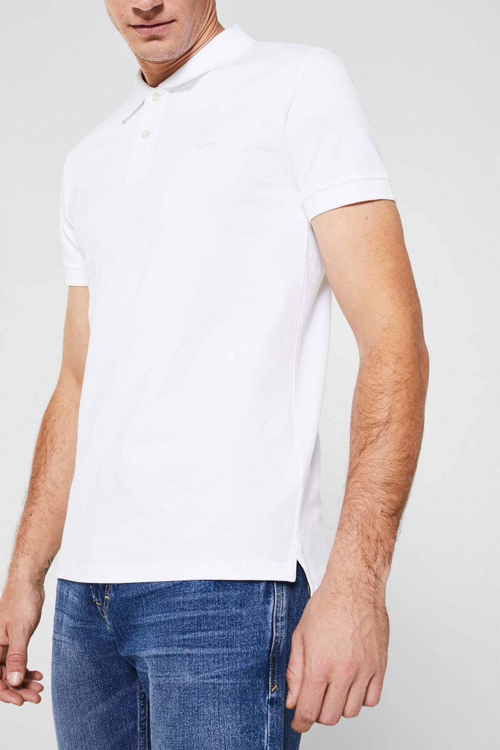ESPRIT Men Casual slim fit polo wit, Wit