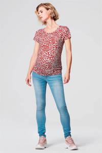Supermom zwangerschapsshirt met all over print rood/wit, Rood/wit