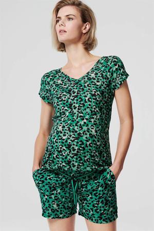zwangerschapsshirt met all over print groen/zwart/wit