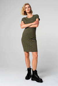 Supermom gestreepte zwangerschapsjurk olijfgroen/zwart, Groen