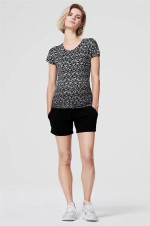 zwangerschapsshirt met all over print zwart/wit