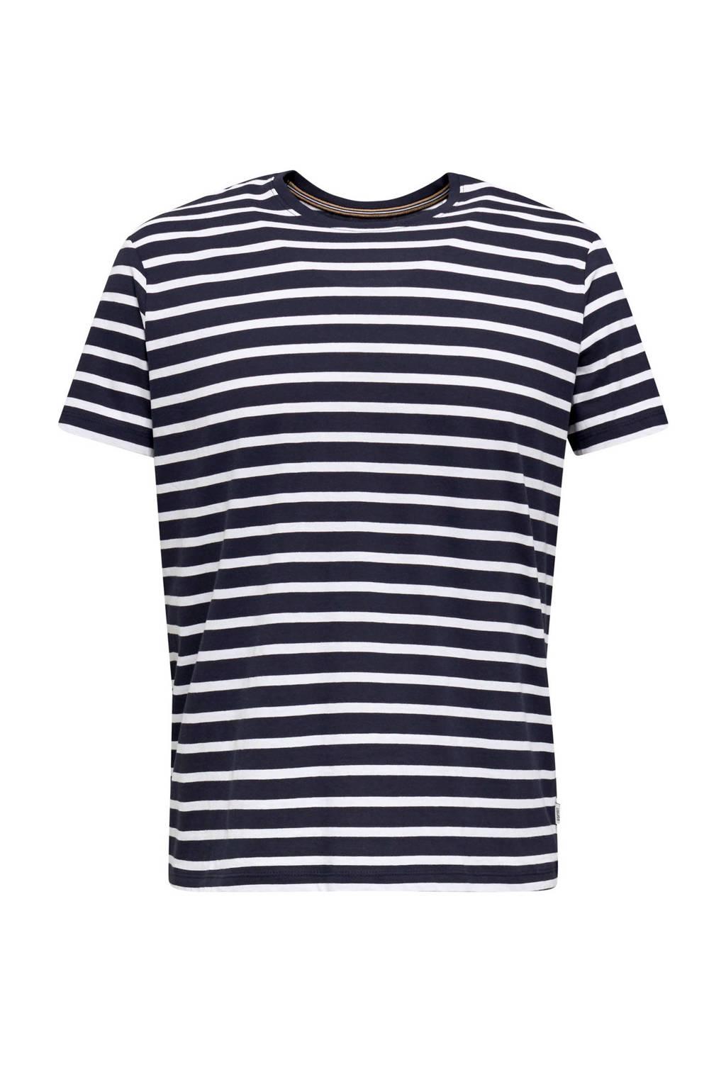 ESPRIT Men Casual gestreept T-shirt marine/wit, Marine/wit