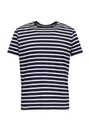 gestreept T-shirt marine/wit
