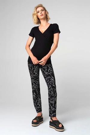 low waist skinny zwangerschapsbroek Lines met all over print zwart/wit