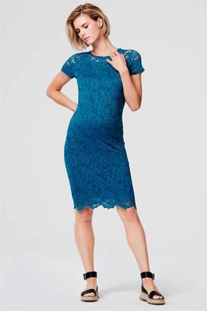 zwangerschapsjurk Lace blauw/wit