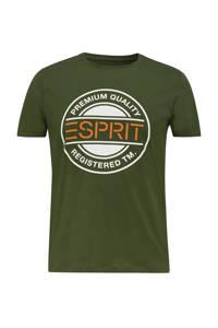 ESPRIT Men Casual T-shirt met printopdruk groen/wit/oranje