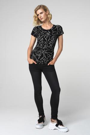 zwangerschapsshirt Lines met all over print zwart/wit