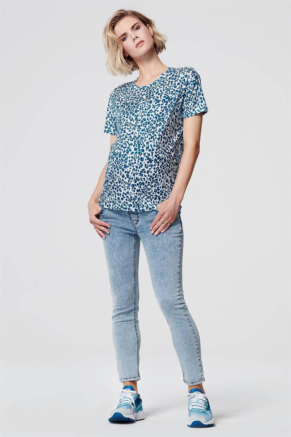 Supermom zwangerschapsshirt met all over print blauw/wit, Blauw/wit