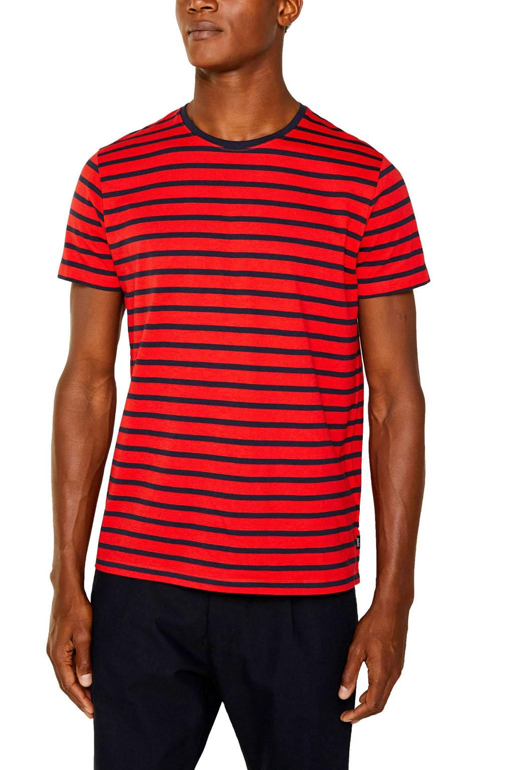 ESPRIT Men Casual gestreept T-shirt rood/zwart, Rood/zwart