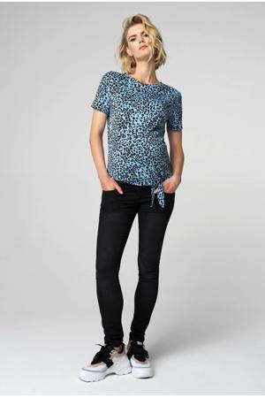 zwangerschapsshirt Animal met panterprint lichtblauw/zwart