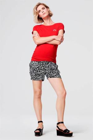 slim fit zwangerschapssweatshort met panterprint zwart/wit