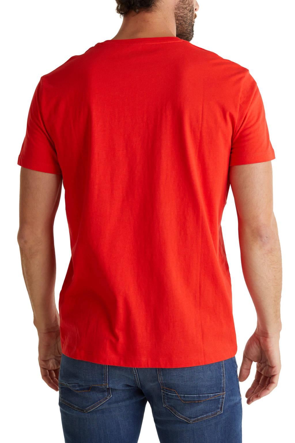 ESPRIT Men Casual T-shirt met printopdruk rood/blauw/wit, Rood/blauw/wit