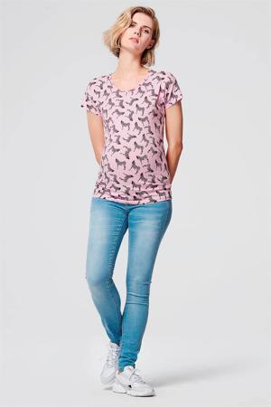 zwangerschapsshirt met all over print roze
