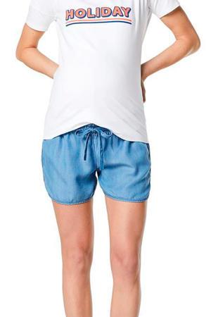 zwangerschapsshirt Holiday met tekst wit/oranje/donkerblauw