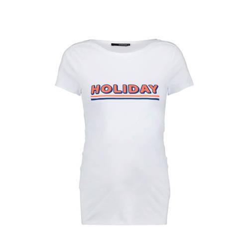 Supermom zwangerschapsshirt Holiday met tekst wit/