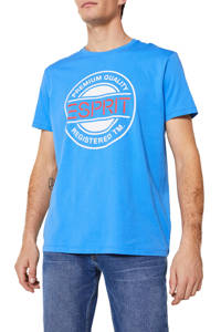 ESPRIT Men Casual T-shirt met printopdruk blauw/wit/rood, Blauw/wit/rood