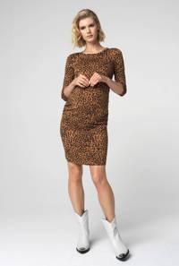 Supermom zwangerschapsjurk Leopard met panterprint en plooien bruin/zwart, Bruin/zwart