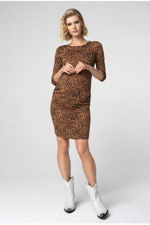 zwangerschapsjurk Leopard met panterprint en plooien bruin/zwart