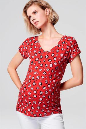 zwangerschapsshirt met all over print rood/wit