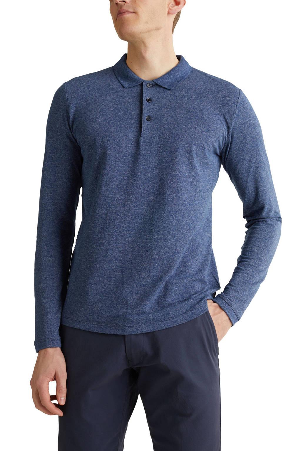 ESPRIT Men Casual gemêleerde regular fit polo blauw, Blauw