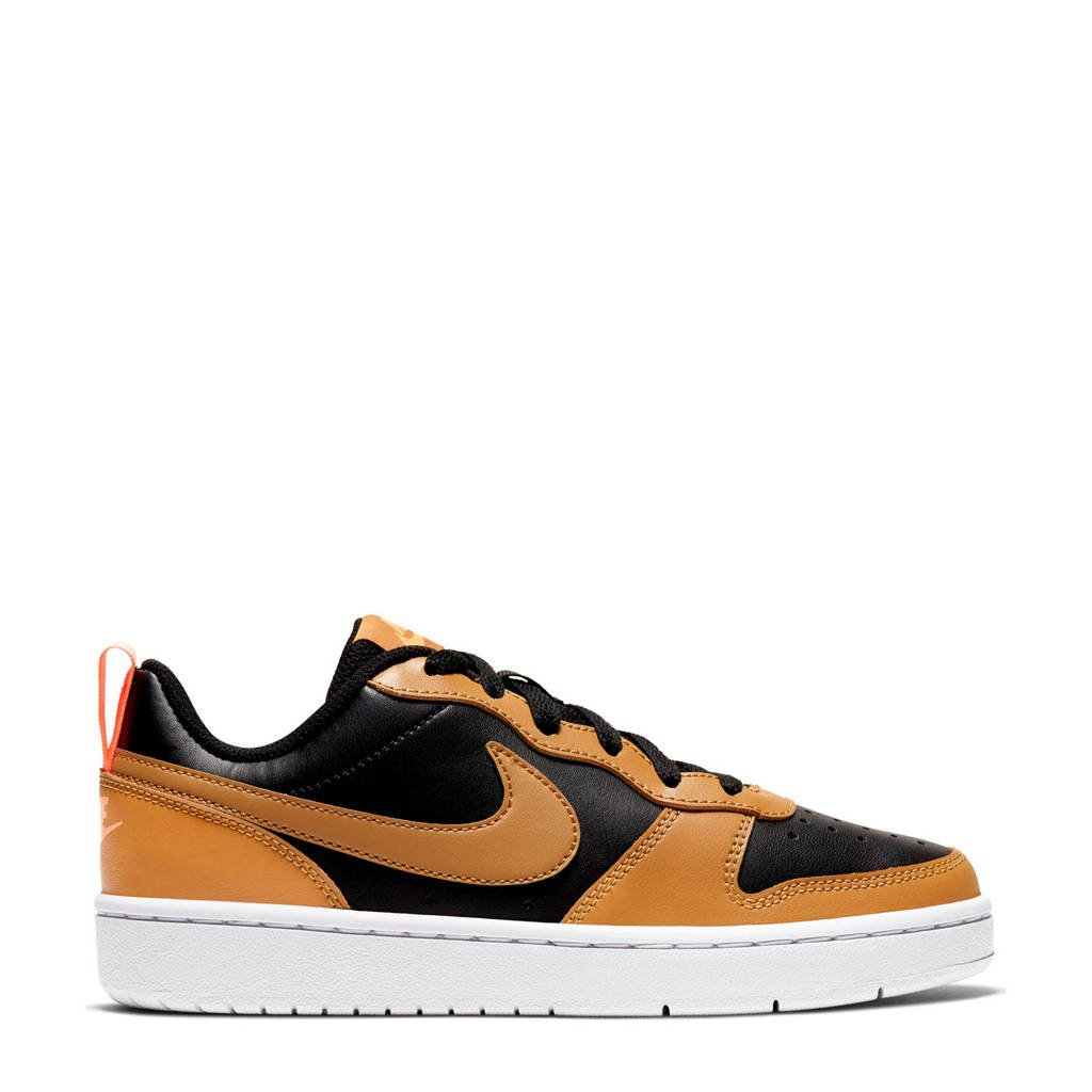 Nike Court Borough Low 2 (GS) leren sneakers zwart/oker, zwart/mosterdgeel