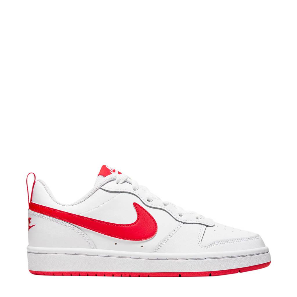 Nike Court Borough Low 2 (GS) leren sneakers wit/koraalrood, Wit/koraalrood