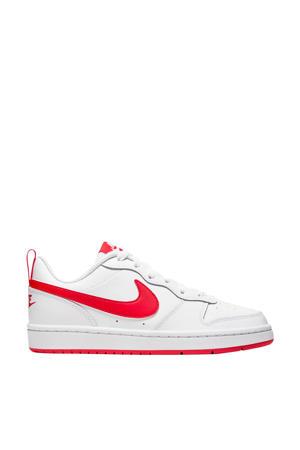 Court Borough Low 2 (GS) leren sneakers wit/koraalrood