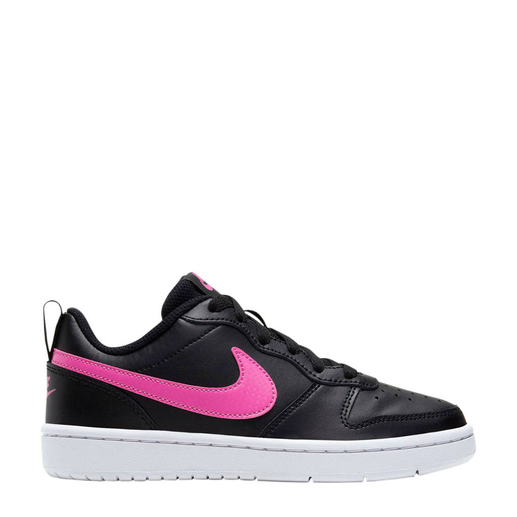 Nike Court Borough Low 2 (GS) leren sneakers zwart/fuchsia, Zwart/fuchsia