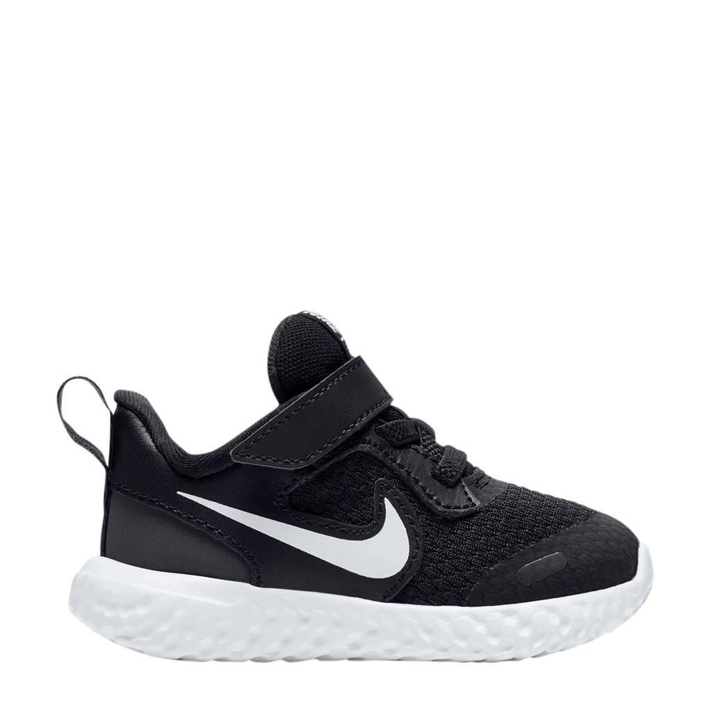 Nike Revolution 5 leren sneakers zwart/wit, Zwart/wit