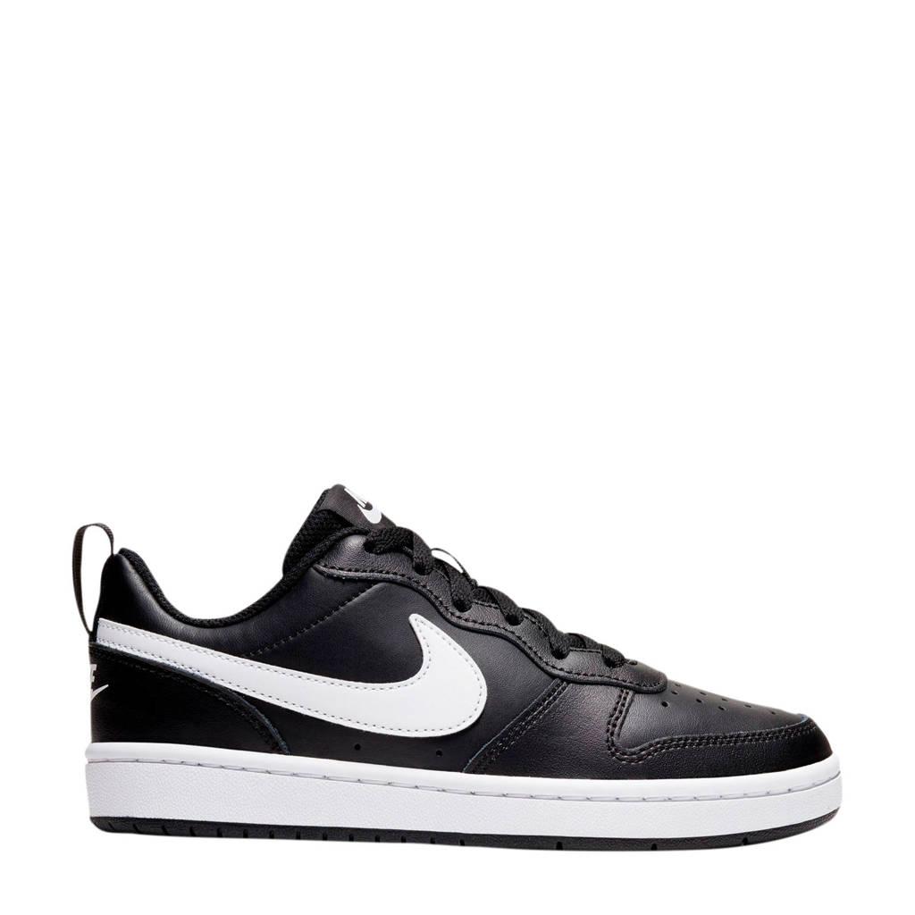 Nike Court Borough Low 2 (GS) leren sneakers zwart/wit, Zwart/wit