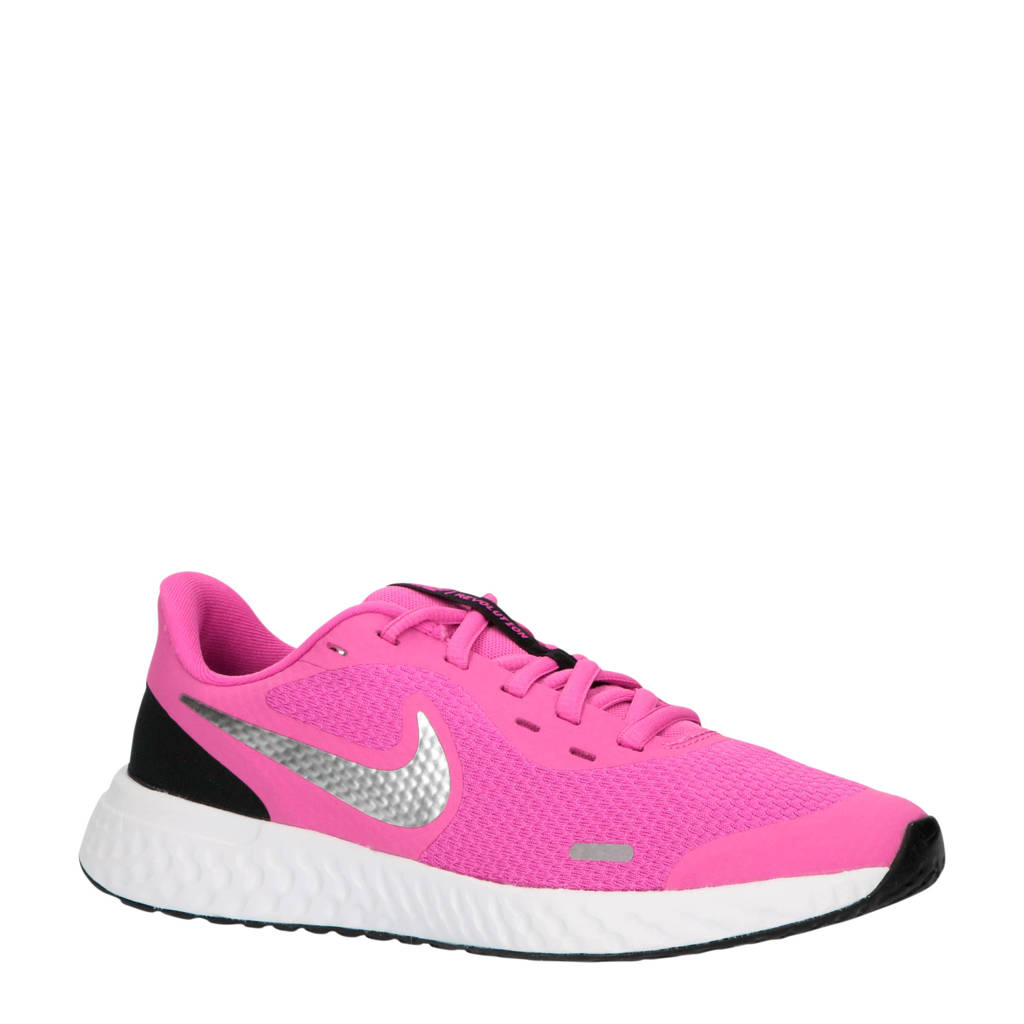 Nike Revolution 5 (GS) sneakers fuchsia/zilver/zwart, Roze/zilver/zwart