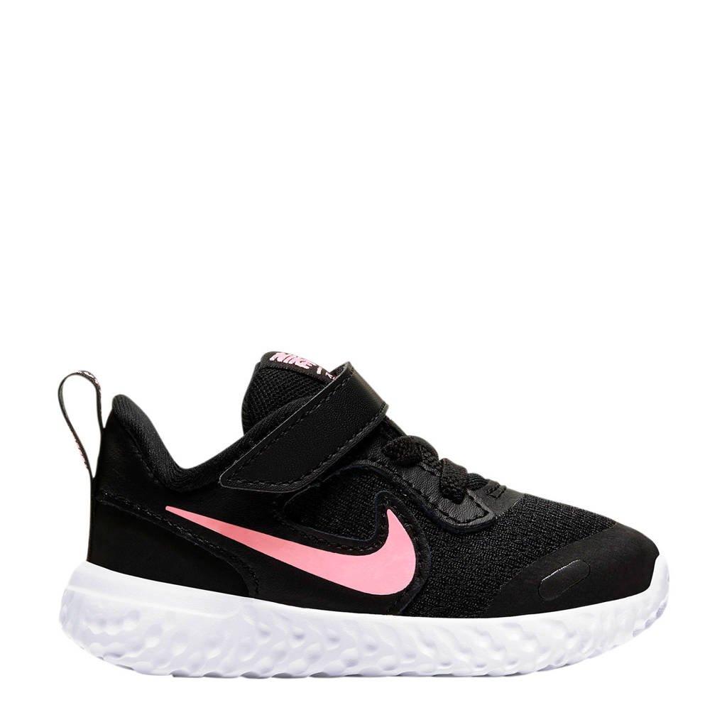 Nike Revolution 5 (TDV) leren sneakers zwart/roze, Zwart/roze