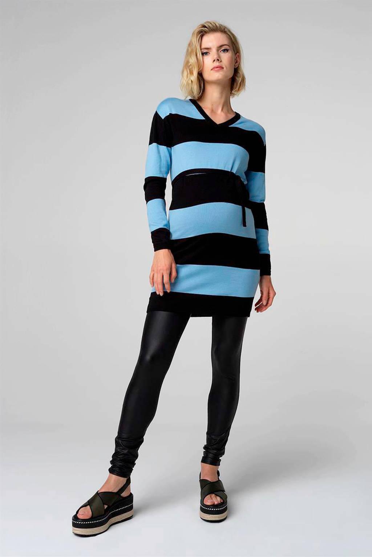 Supermom gestreepte zwangerschapsjurk Blue Stripe lichtblauw/zwart, Lichtblauw/zwart