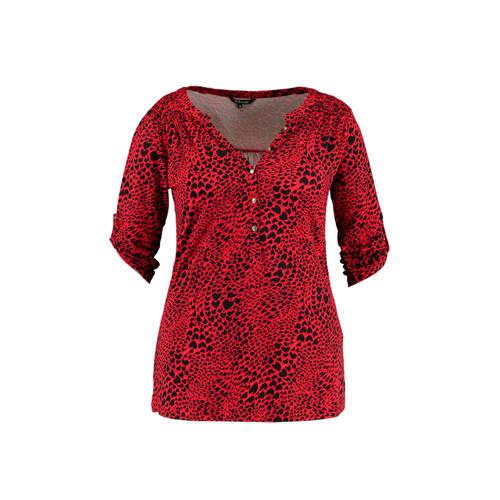 MS Mode top met dierenprint rood/zwart