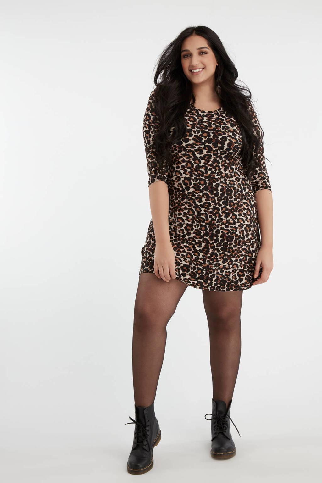 MS Mode jersey jurk met panterprint multi, Multi