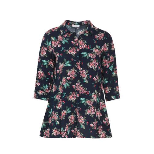 Paprika gebloemde blouse marine/groen/roze