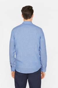 WE Fashion gestreept linnen slim fit overhemd lichtblauw, Lichtblauw
